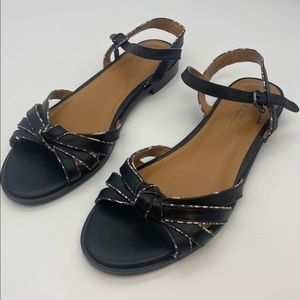 Coach Sophia Ankle Strap Flat Leather Sandals 7.5